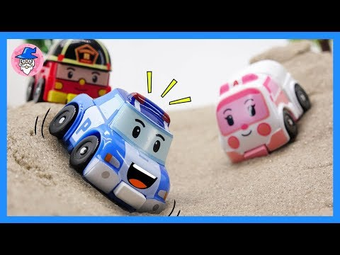 Robocar Poli toys episode. Mini car toys. POLI, AMBER, and ROY all started mission.