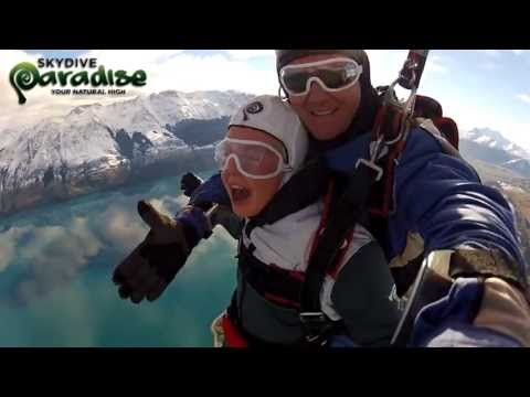 Skydiving NZ screaming under parachute canopy with Skydive Paradise Queenstown