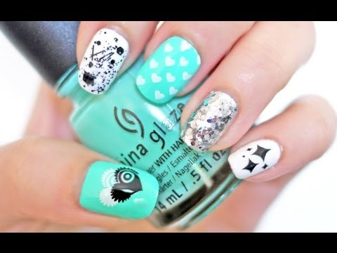Hearts. Stars & Splatters Nail Tutorial (Konad Stamping) (My GenBeauty Nails 2013)