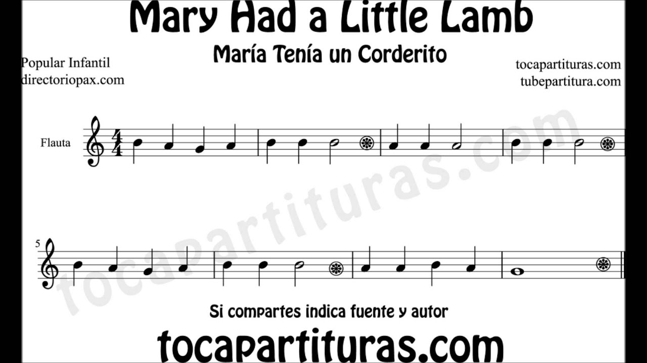 Mary Had A Little Lamb Easy Sheet Music For Flute Sax