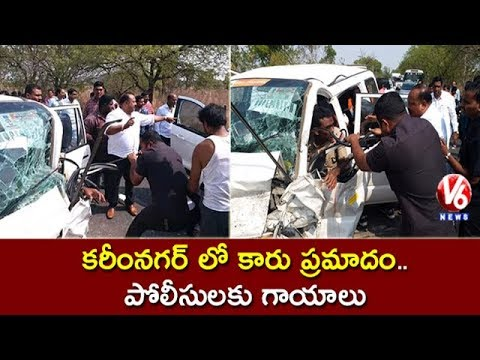 Police Vehicle Met With Accident In Karimnagar, 5 Injured | V6 News