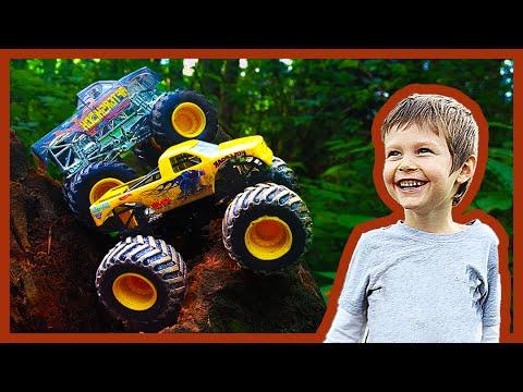 Toy Monster Trucks Go Hiking