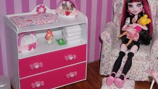 How to make Baby Changing Table Dresser for doll (Monster High, MLP, EAH, Barbie, etc)