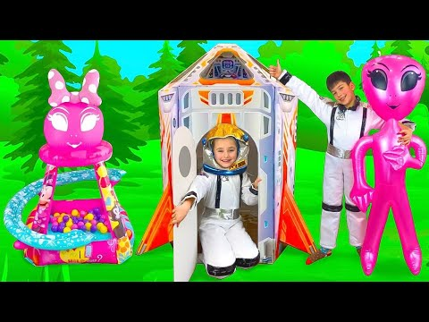 Sasha buys new Toys and Flies on a Rocket ship Playhouse