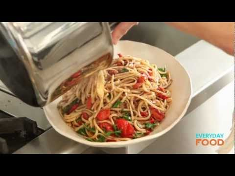 Linguine with Tapenade, Tomatoes, and Arugula | Everyday Food with Sarah Carey