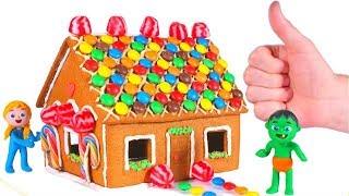 SUPERHERO BABIES MAKE A GINGERBREAD HOUSE ❤ SUPERHERO BABIES PLAY DOH CARTOONS FOR KIDS