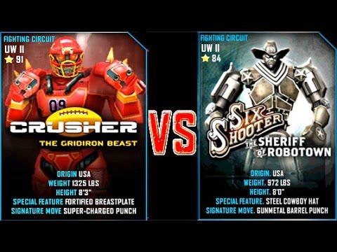 Real Steel WRB Crusher VS Six Shooter NEW Robot updating (Живая Сталь)