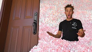 Completely Filled  House With Packing Peanuts!