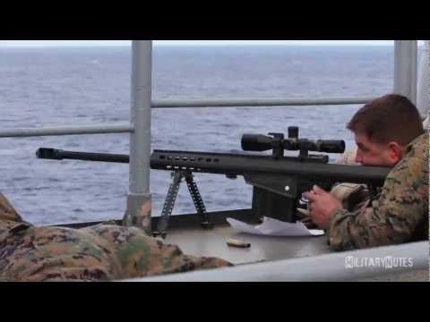 USMC Scout Snipers vs small boat (Barrett M107. 50 BMG Rifles)