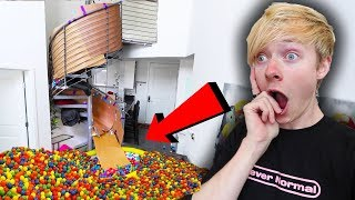 TRANSFORMING StairCase Into SLIDE! (w/ Ball Pit)