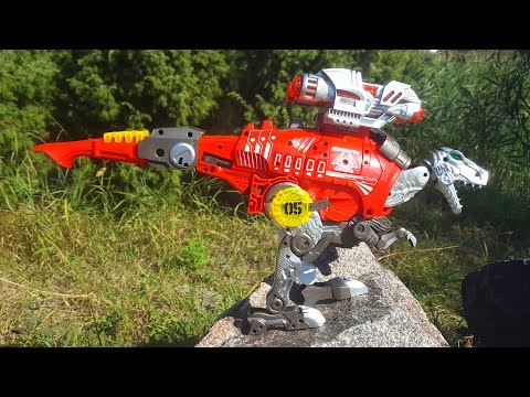 Динозавр Rex Трансформер и Бластер. Обзор игрушки и игра. Dinosaur of Rex Transformer and Blaster
