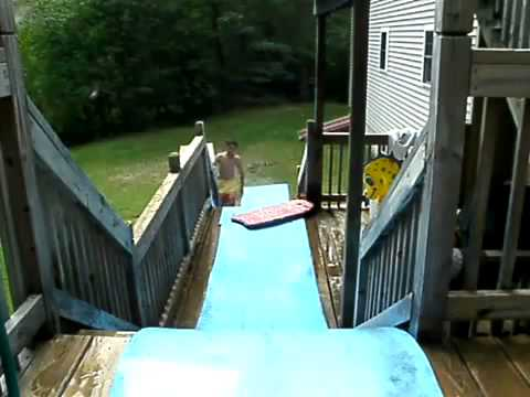 Crazy homemade water slide youtube - How to build a swimming pool slide ...