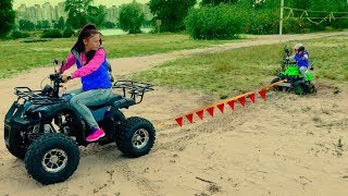 Den pretend play - STUCK IN THE SAND! Mom buy new Kids Quad BIKE, test drive him and helps child