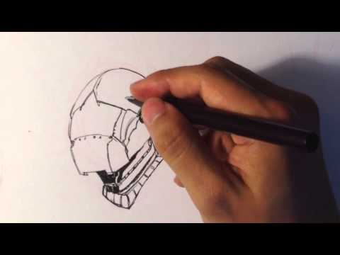 Drawing A Sci-Fi Helmet - Draw Fantasy Art #1