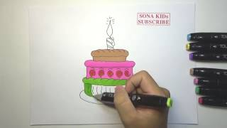 How To Draw And Color Birthday Cake A 3 Ti D Cake Coloring