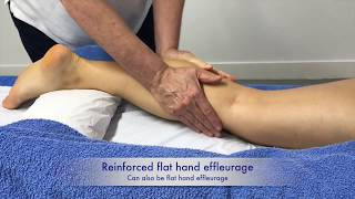 Massage techniques on the calf and thigh