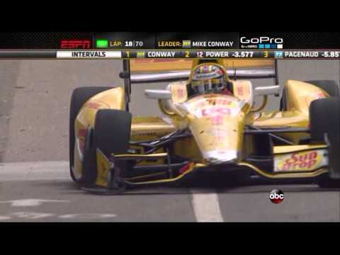 2013 Indycar Detroit Grand Prix (Race 2) - Ryan Hunter-Reay hits the wall twice