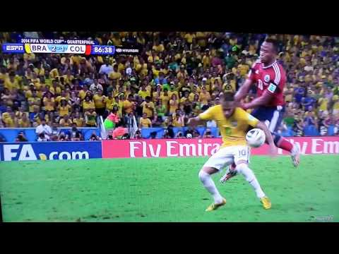 Neymar Injury vs Colombia on FIFA world cup 2014. Zuñiga dirty play!