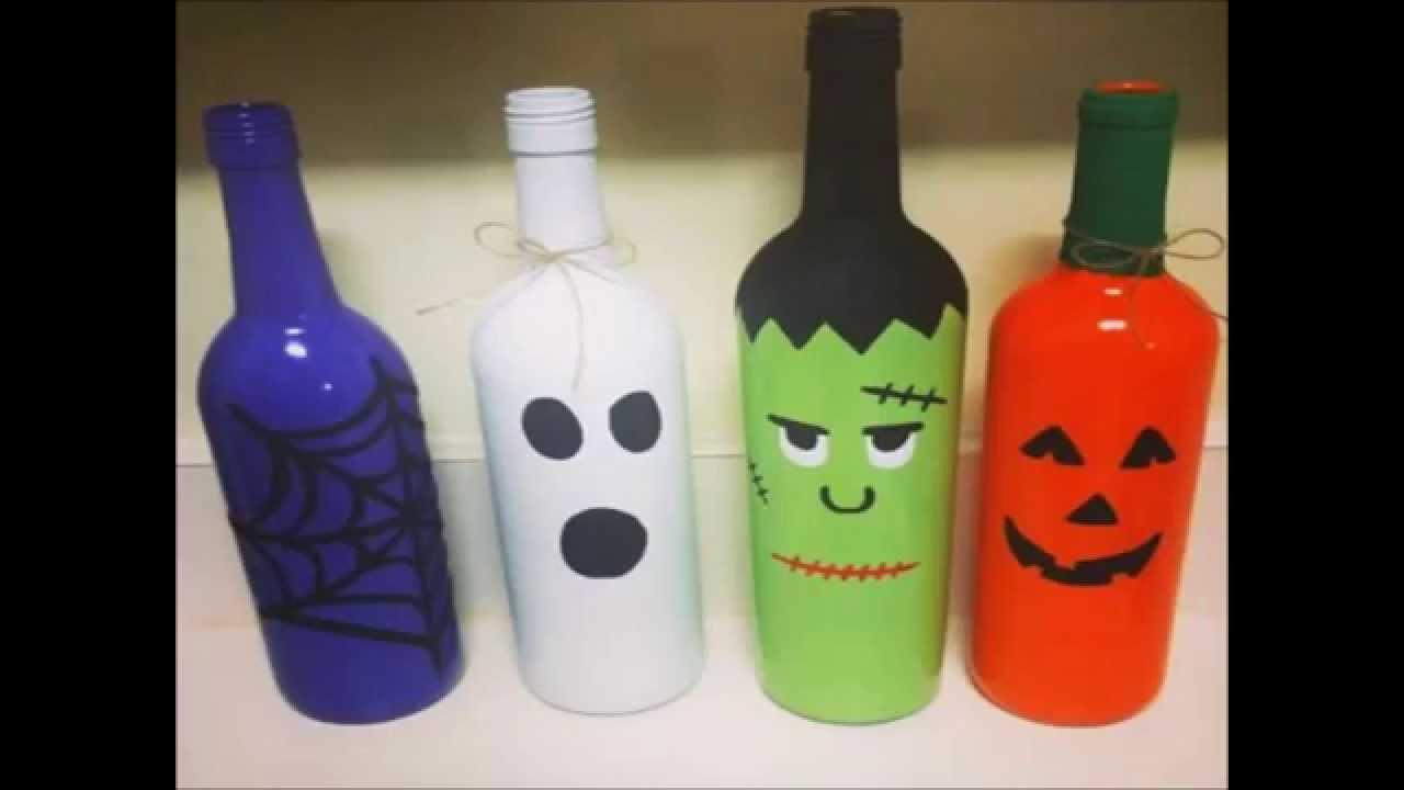 Botellas recicladas ideas de manualidades para halloween - Manualidades con botellas de cristal ...