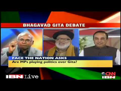 Dr Subramanian Swamy in CNN-IBN debate Should the Bhagavad Gita be India's national book?