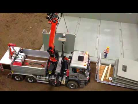 Amazing RC Truck Building a house with rc truck ScaleART MAN Palfinger crane