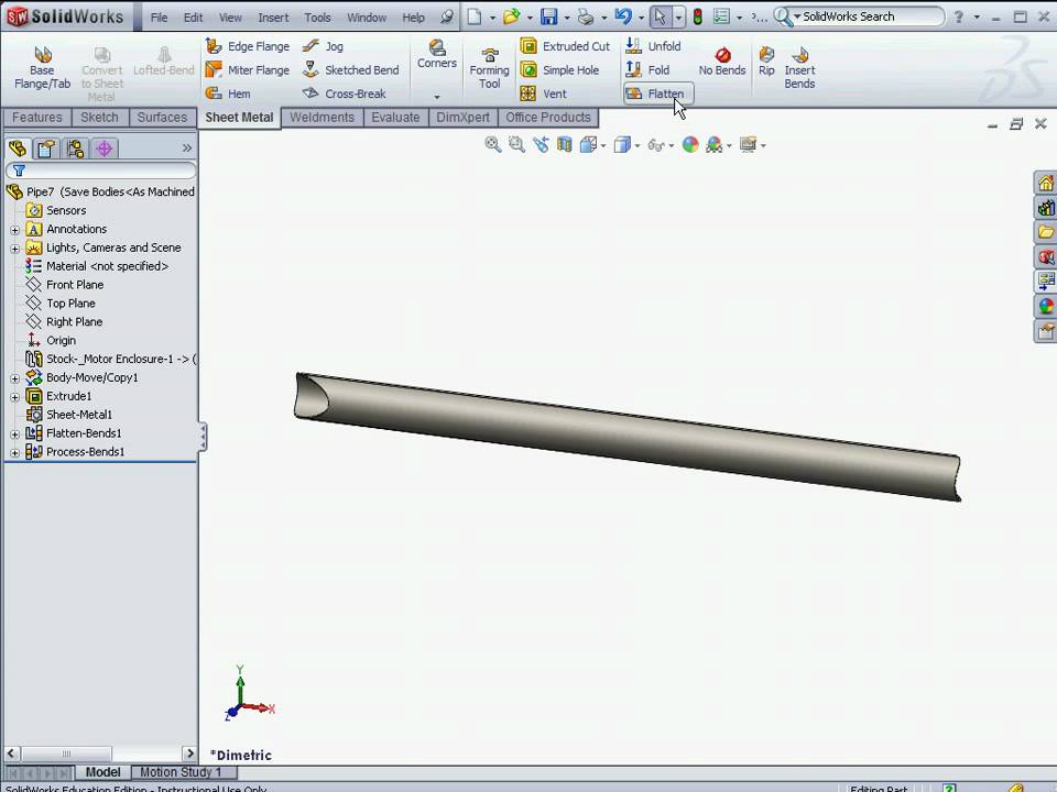 SolidWorks FSAE Tutorial Frame drawing cutlist flat