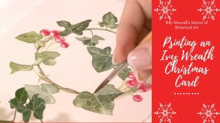 Painting an Ivy Wreath Christmas Card