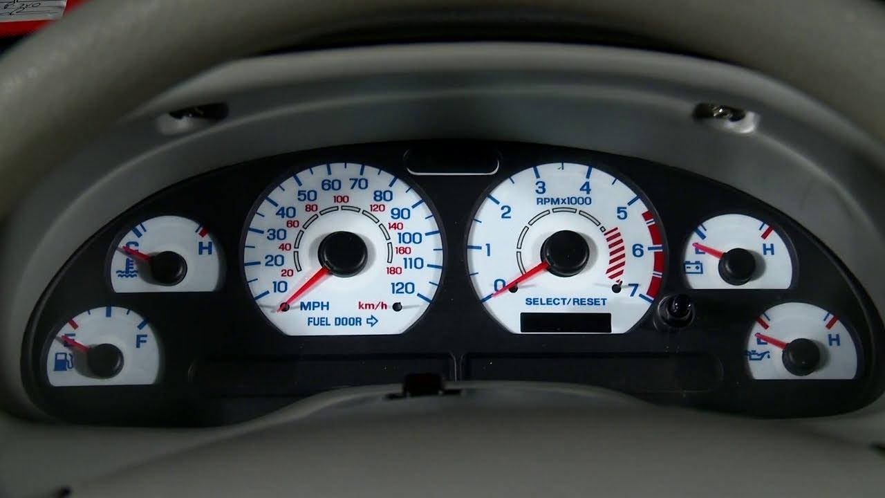 Mustang White Face Reverse Glow Gauge Insert Amp AC Gauge