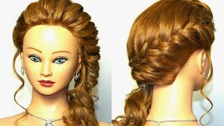 Braided hairstyle for medium long hair.