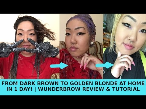 BLEACHING MY HAIR DARK BROWN TO BLONDE AT HOME IN 1 DAY || WUNDERBROW HONEST REVIEW