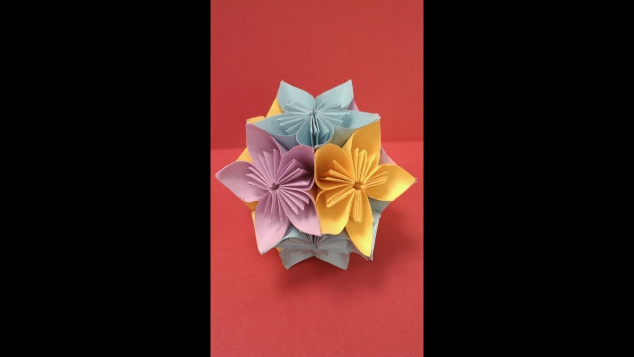 Diy how to fold an origami kusudama flower ball paper for Art and craft with paper easy
