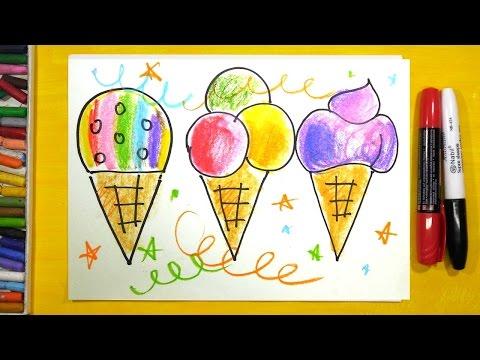 Как нарисовать Мороженое, Урок рисования для детей от 3 лет