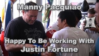 Manny Pacquiao on Return of Coach Justin Fortune; Chokes Photographer + Trains Double End Ball (HD)