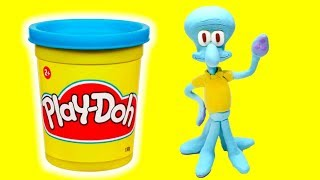 Squidward Tentacles Stop motion Play Doh compilation funny video for kids