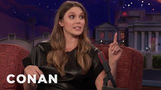 Elizabeth Olsen Accidentally Packed A Butcher's Knife In Her Carry-On Bag  - CONAN on TBS