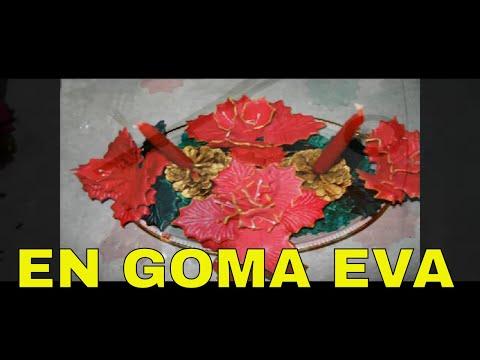 Centro navide o con muerdagos en goma eva curso de flores youtube - Flores sencillas de goma eva ...