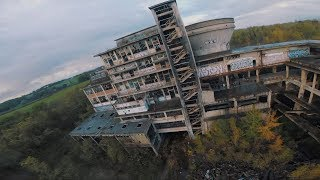 Drone racing footage of abandoned coal factory