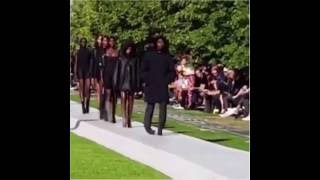 Several models trip and lose their shoes at Kanye West