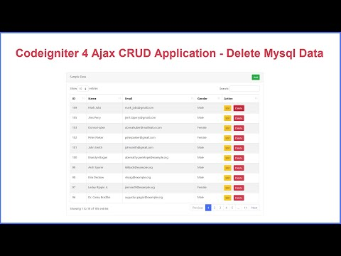 Ajax CRUD in Codeigniter 4 with DataTables - Delete Data