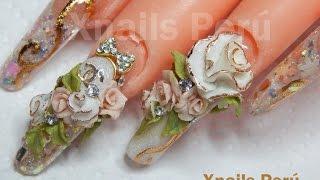 Acrylic nails 3d roses / Xnails Perú