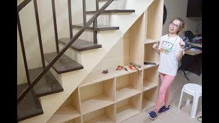 Building Shelves under the Staircase with Storage