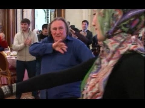 Gerard Depardieu dances with Chechnya's leader