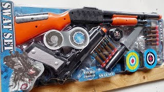New Toy Guns Toys Unboxing! Realistic Toy Shotgun - Pistol and Knife with Target