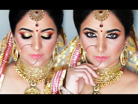 INDIAN BRIDAL MAKEUP STEP-BY-STEP  |  GOLD AND PEACH