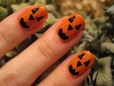 Halloween Tutorial : Cute Pumpkin Nail Tutorial