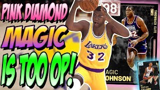 NBA 2K19 MYTEAM 98 OVER PINK DIAMOND MAGIC JOHNSON GAMEPLAY! IS HE GLITCHED?!
