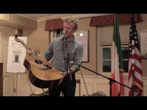 Glen Hansard talks about his well-worn guitar at Glucksman Ireland House NYU