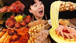 ASMR MUKBANG 버섯 떡볶이 & 치즈 퐁듀 & 양념 치킨먹방! FIRE Noodle & FRIED CHICKEN & CHEESE STICK EATING SOUND!