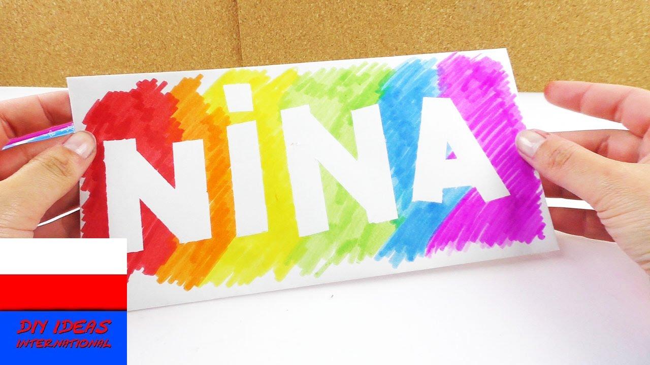 Karteczka z imieniem w kolorach tęczy | pomysł na dekorację pokoju