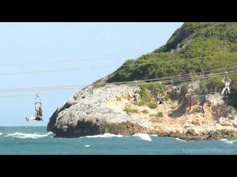 World's Longest Zip Line Over Water: Dragon's Breath in Labadee, Haiti (4K video)